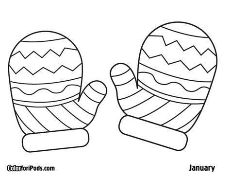 mitten coloring template coloring pages