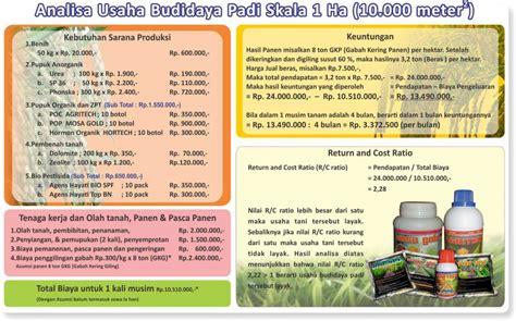 Prospeknya Usaha Budidaya Dengan analisa usaha budidaya padi skala 1 hektar