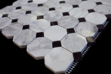 "Bianco Carrara White Marble 2"" Octagon Polished Mosaic Tile"