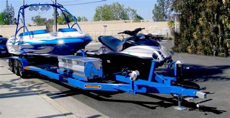 jet ski on boat trailer boat and pwc combo trailer shadow trailers