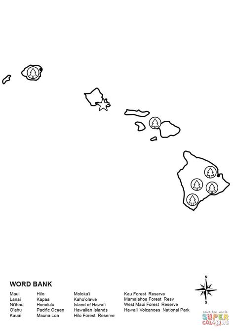 coloring page map of hawaii hawaii map worksheet coloring page free printable