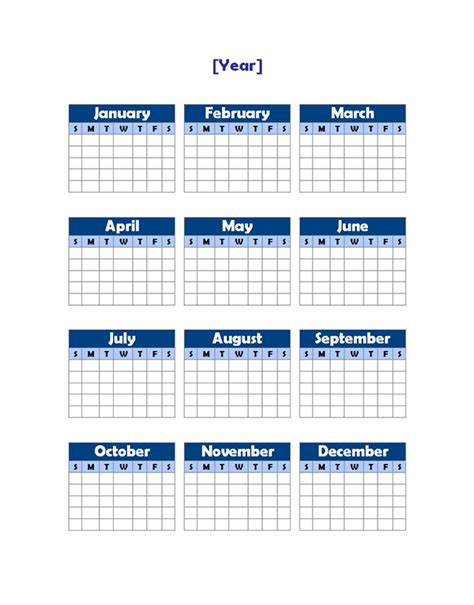 yearly blank calendar potrait free printable templates
