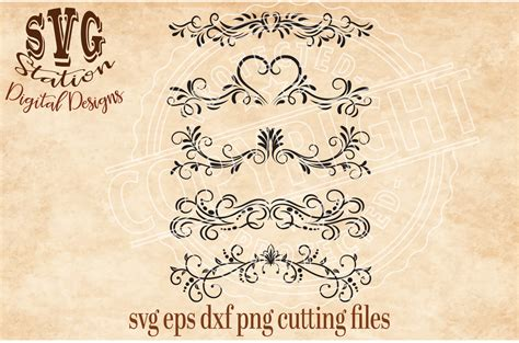 template border card cricut ornamental flourish borders svg dxf png eps cutting file