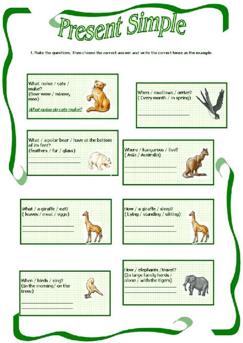 Simple Present Tense Worksheets by Animals And Present Simple Worksheet