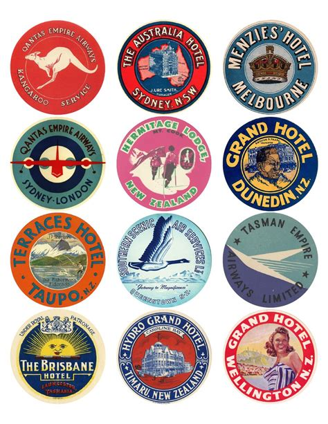 Printable Labels Nz | 12x vintage travel stickers oceania mix vintralab