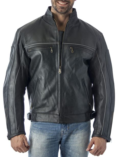 motorcycle jacket brands reed leather mens vented motorcycle jacket with light