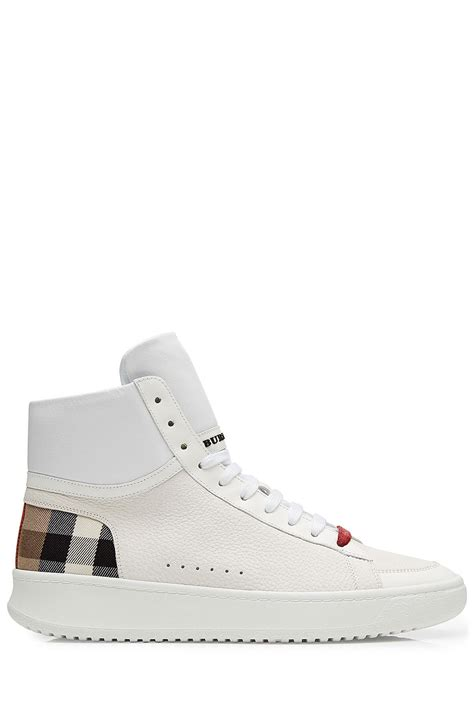 white high top sneakers mens burberry leather high top sneakers white in multicolor