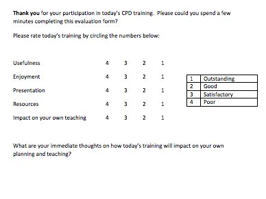 generic cpd evaluation form  helenfwebb teaching resources