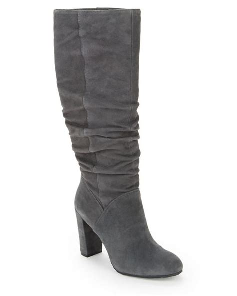 nine west shiryl suede knee high boots in gray grey