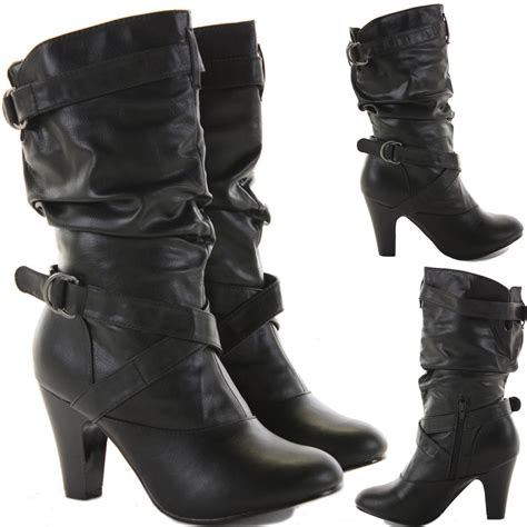 womens mid heel calf knee high zip black leather