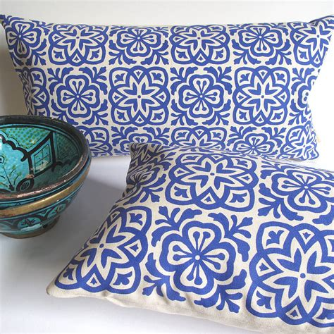 blue patterned cushions uk moroccan tile slim cushion by helen rawlinson
