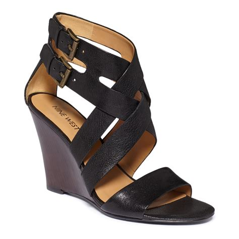 nine west sandal wedges nine west mauren wedge sandals in black lyst