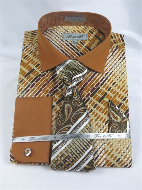 pattern for french cuff fratello 4134p2 beige men s french cuff dress shirt with