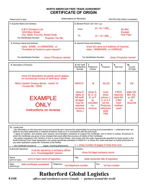 nafta certificate of origin template beautiful pics of nafta certificate of origin business