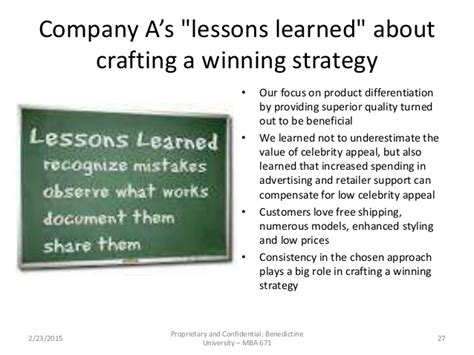 Lessons Learned From Mba Program by Mba 671 Business Strategy Game Company A Team Presentation