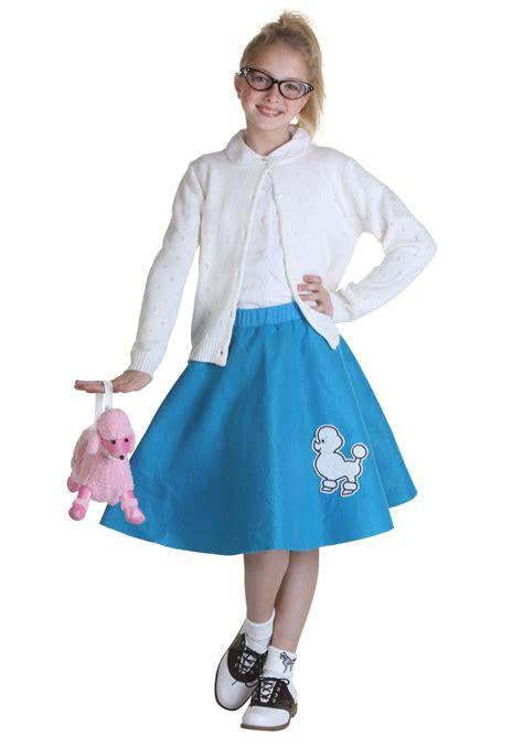 child blue 50s poodle skirt