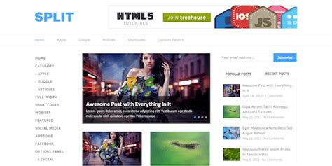 split layout wordpress split minimal responsive wordpress theme mythemeshop