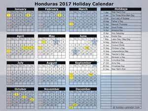 Honduras Calendã 2018 Honduras 2017 2018 Calendar