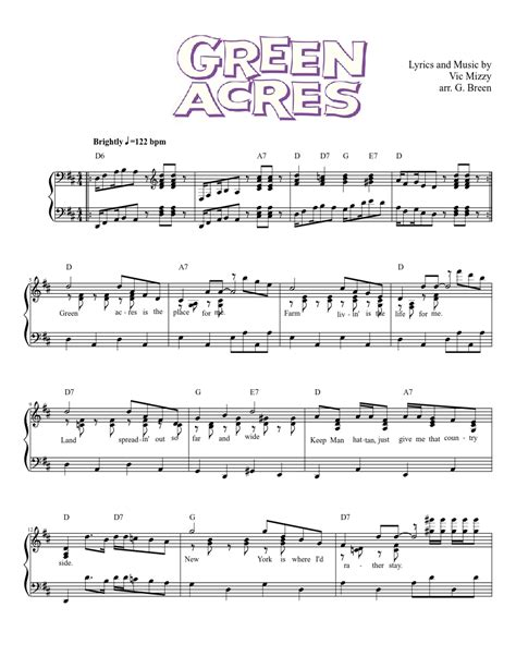 theme song green acres theme from green acres sheet music musescore