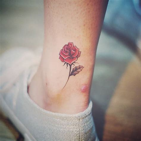 small rose tattoo on ankle on ankle creativefan