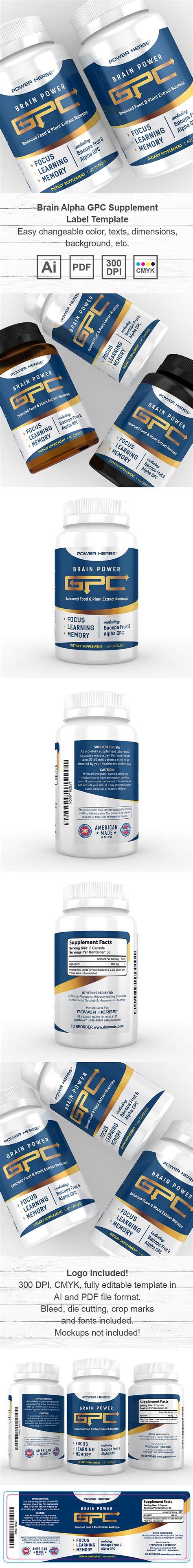 Brain Alpha Gpc Supplement Label Template Supplement Label Template