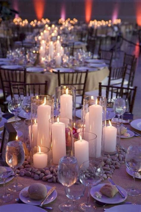 adornos de mesa para bodas con velas centro de mesa con piedras y velas