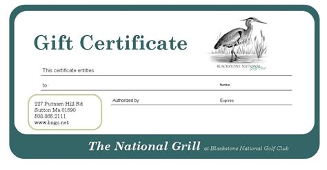 National Gift Card Jobs - gift cards 50 grill certificate blackstone national golf club