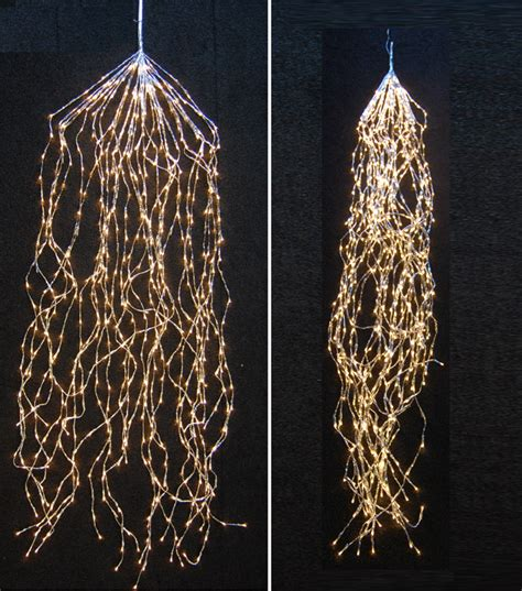 led cascading lights warm white with transparent cable