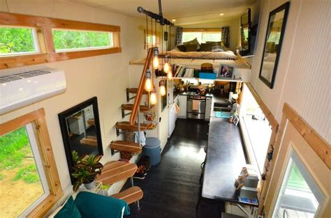 tiny house living room 224 square tiny house trailer interiors tours