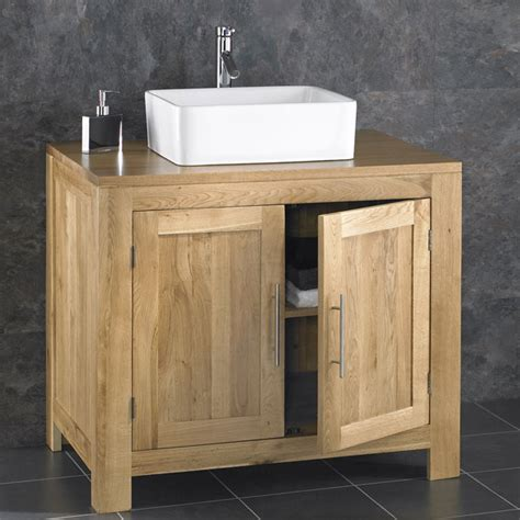 Free Standing Oak Bathroom Furniture Alta 90cm Freestanding Solid Oak Door Cabinet Sink Bathroom Vanity Unit Ebay