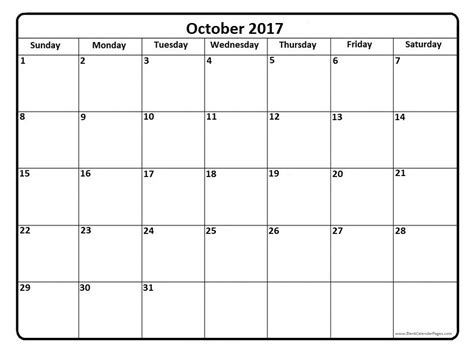 printable calendar october 2017 cute october 2017 calendar cute monthly calendar 2017