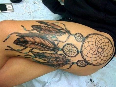 dream catcher tattoo with names in feathers indian dream catcher with feathers tattoo on thigh