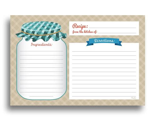 Mason Jar Recipe Cards 50 Double Sided Cards 4x6 Inches Thick Card Stock Ebay Sided Recipe Card Template