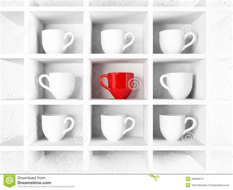 D Cup Shelf by Many White Cups And A Cup On The Shelf