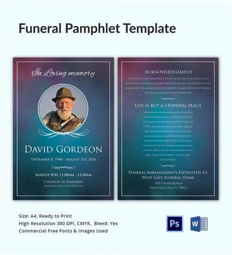 funeral phlets templates free 5 funeral phlet templates word psd format