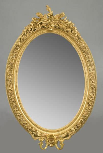 Antique French Louis XVI Style Oval Mirror For Sale