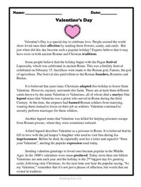 valentines reading comprehension worksheet s day reading passage and activities
