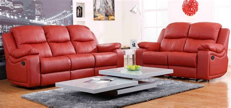 montreal rosso red reclining   seater leather sofa set