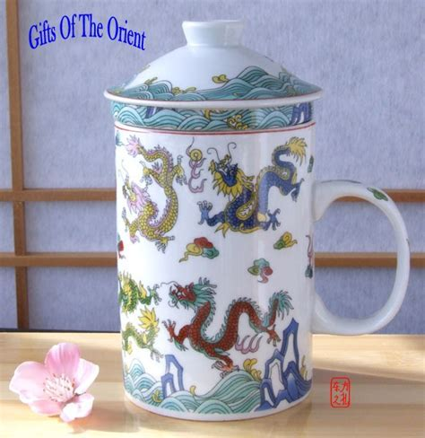 Chinese Nine Dragon Mug with infuser lid & Chinese Oolong