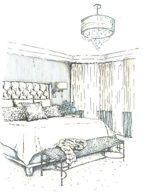 interior architectural ink rendered hand drawings