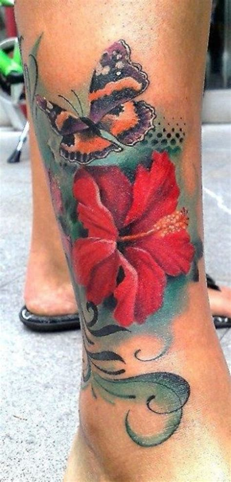 25 stunning hibiscus flower tattoos for women
