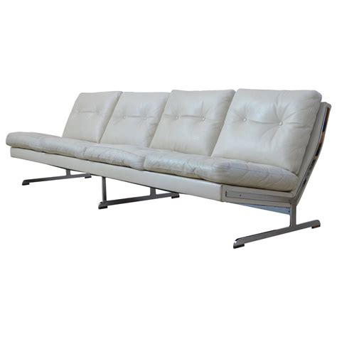 white leather cushion sofa by poul n 248 rreklit at 1stdibs