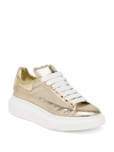 metallic sneakers lyst mcqueen embossed metallic leather