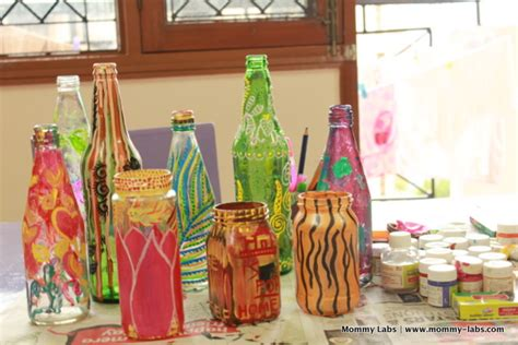 Handmade Handicrafts From Waste Materials - painted glass bottles and jars different ways to paint