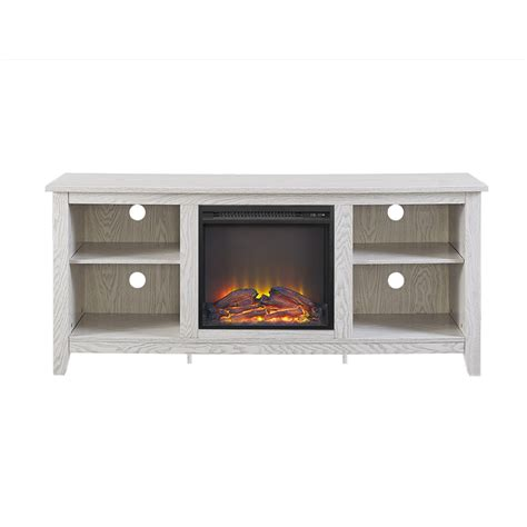 white tv stand with fireplace 58 quot white wood fireplace tv stand