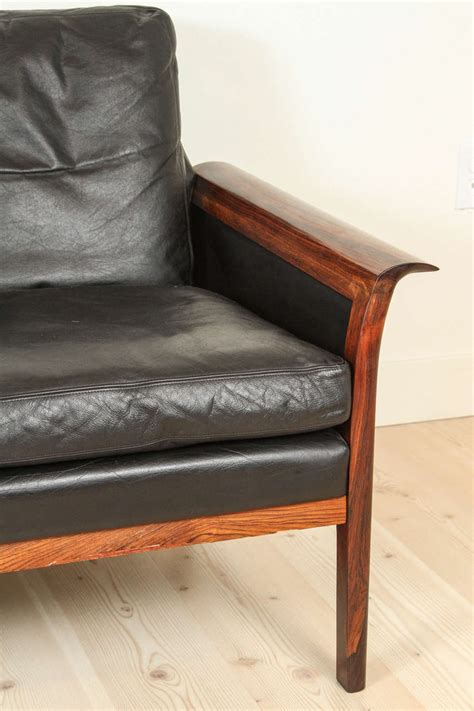 hans olsen sofa leather and rosewood sofa by hans olsen at 1stdibs