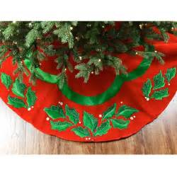 christmas ltd 48 quot velvet christmas tree skirt with holly