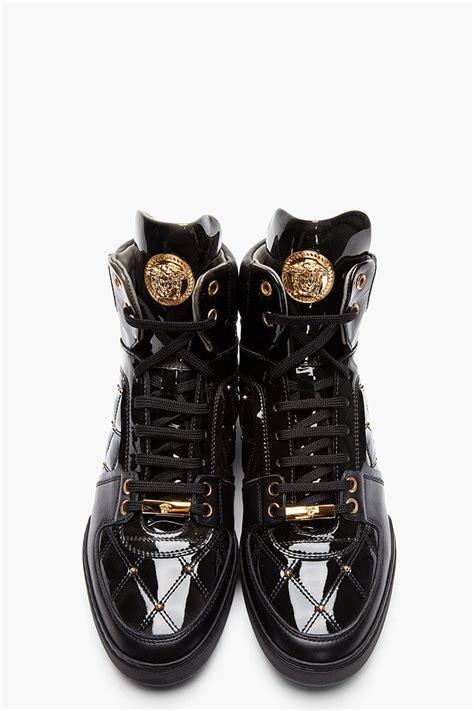 versace sneakers mens versace hi top patent leather sneakers leather sneakers