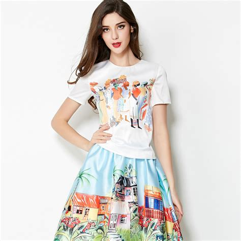 Tops Skrit 2015 new arrival name brand casual printed sleeves top knee length skirt fashion twinset