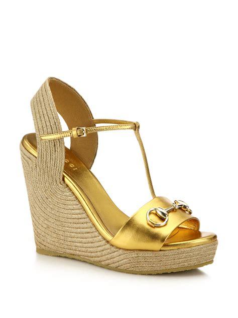 gucci metallic leather horsebit espadrille wedge sandals